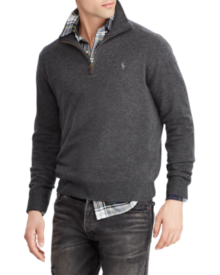 Polo Ralph Lauren Merino Wool Half-Zip Jumper Dark Charcoal Heather