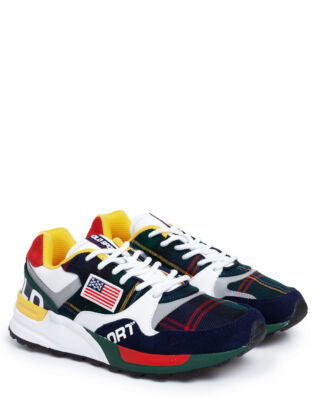 Polo Ralph Lauren Trackster 100 Athletic Sneakers Cruise Navy/Rl2000 Red/Yellow