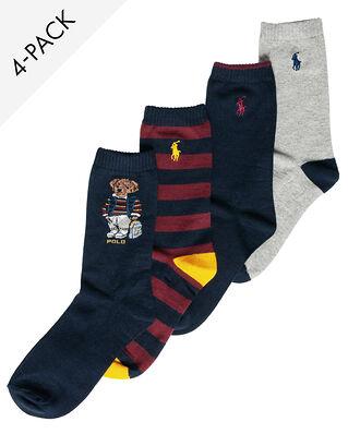 Polo Ralph Lauren Junior 4-Pack Crew Socks Bkpck Br Nv Wine Gy