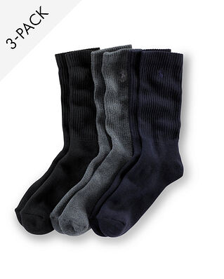 Polo Ralph Lauren 3-Pack Crew Socks Navy/Grey/Black