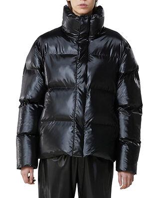 Rains Boxy Puffer Jacket Shiny Black