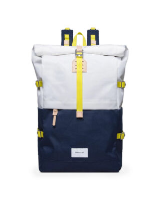 Sandqvist Bernt Multi Off White/Blue with Natural Leather