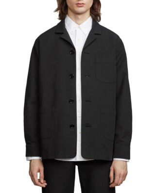 Schnaydermans Overshirt Notch Cotton Wool Black