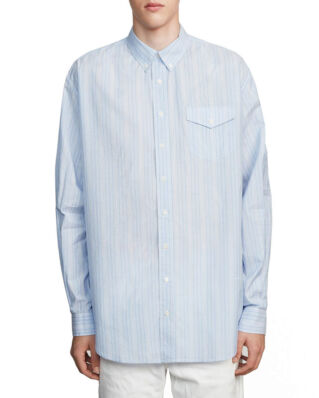 Schnaydermans Oversized Shirt Cotton Silk Stripe Blue/White