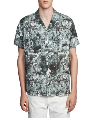 Schnaydermans Shirt Notch Forest Print Short Sleeve Green And White