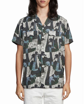Schnaydermans Shirt Notch Swan Print Short Sleeve Black, White and Green