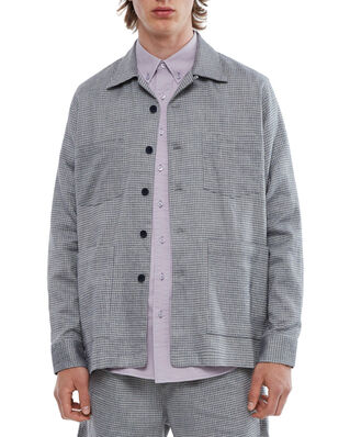 Schnaydermans Overshirt Boxy Melange Check Blue and Grey
