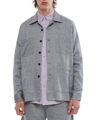 Schnaydermans Overshirt Boxy Melange Check Blue and Grey