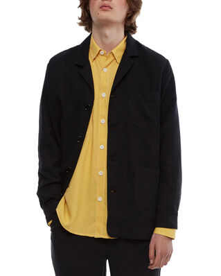 Schnaydermans Overshirt Notch Linen Mix Black