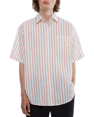Schnaydermans Shirt Oversized Cotton Silk Stripe SS Terracotta and White
