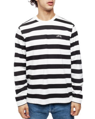 Stussy Printed Stripe LS Crew Black