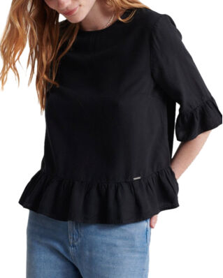 Superdry Jayna Ruffle Top Washed Black