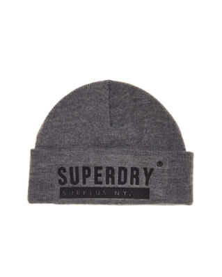 Superdry Surplus Silicone Beanie Grey Marl