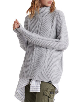 Superdry Tori Cable Cape Knit Grey Marl