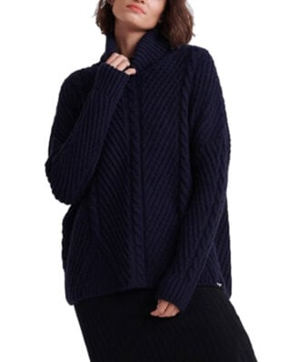 Superdry Tori Cable Cape Knit Rinse Navy