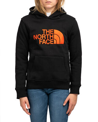 The North Face Junior Drew Peak Hoodie Tnf Black/Red Orange
