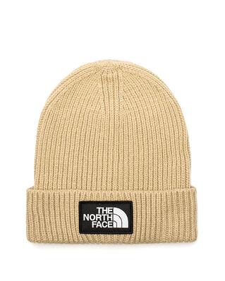 The North Face Logo Box Cuffed Beanie Flax