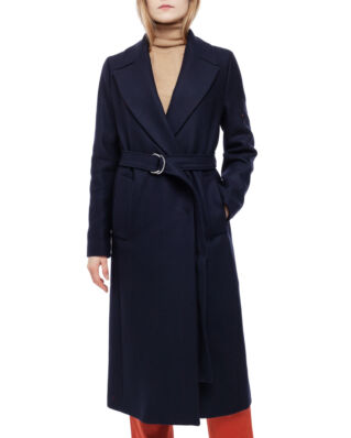 Tommy Hilfiger Belle Wool Blend Belted Coat Sky Captain
