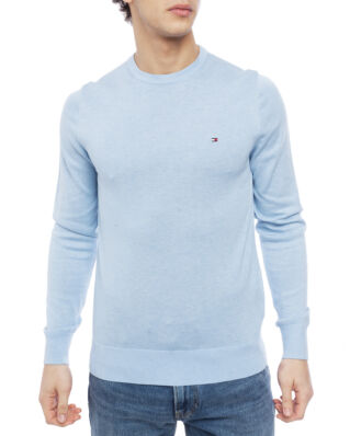Tommy Hilfiger Cotton Silk Crew Neck Chambray Blue Htr