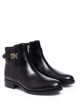 Tommy Hilfiger Hardware Leather Flat Boots Black