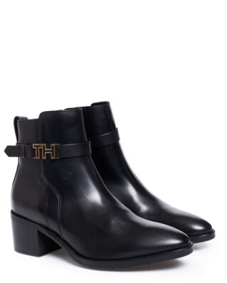 Tommy Hilfiger Hardware Leather Mid Bootie Black