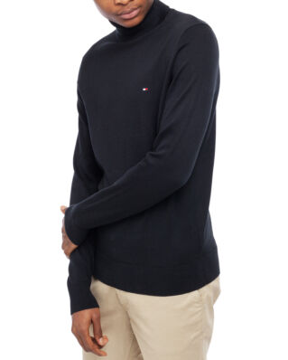 Tommy Hilfiger Organic Cotton Silk Roll Neck Jet Black