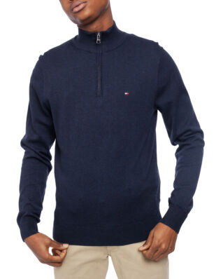 Tommy Hilfiger Organic Cotton Silk Zip Mock Sky Captain Heather