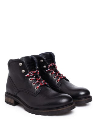 Tommy Hilfiger Winter Textured Leather Boot Black