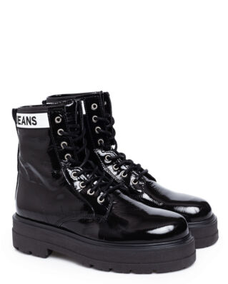 Tommy Jeans Patent Leather Platform Boot Black