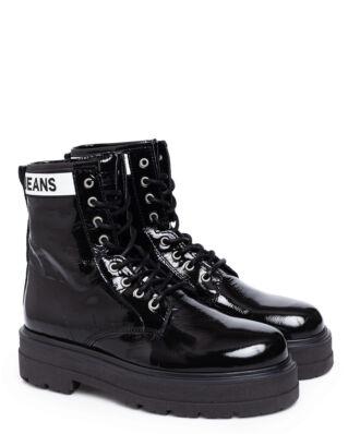 Tommy Jeans Patent Leather Platform Boot Black