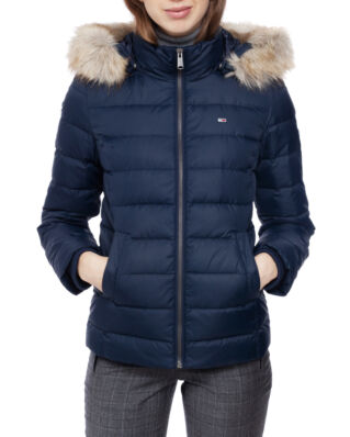 Tommy Jeans Tjw Essential Hooded Down Jacket Black Iris