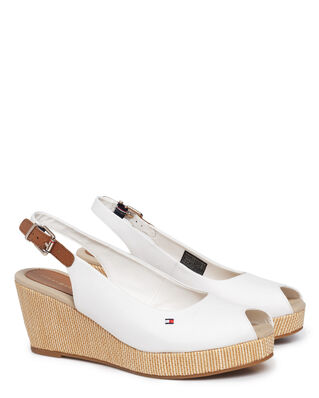 Tommy Hilfiger Iconic Elba Sling Back Wedge Ivory
