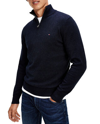 Tommy Hilfiger Pima Cotton Cashmere Zip Mock Black Heather