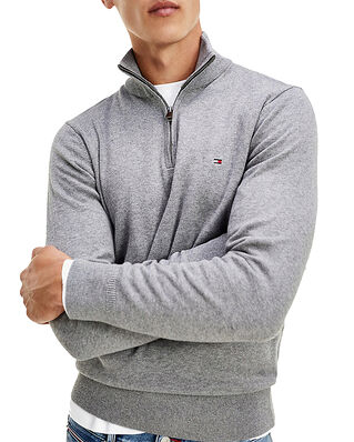 Tommy Hilfiger Pima Cotton Cashmere Zip Mock Dark Grey Heather