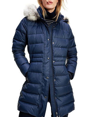 Tommy Hilfiger Th Ess Tyra Down Coat With Fur Desert Sky