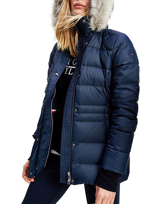 Tommy Hilfiger Th Ess Tyra Down Jkt With Fur Desert Sky