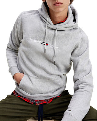 Tommy Jeans Tjm Straight Logo Hoodie Lt Grey Heather