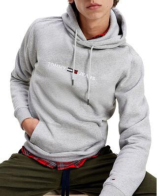 Tommy Jeans Tjm Straight Logo Hoodie Lt Grey Heather