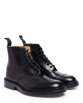 Tricker's Men's Black Box Calf Brogue Boots