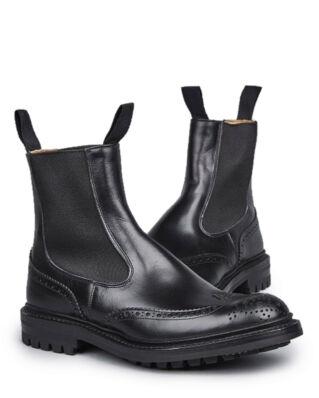 Tricker's Men's Black Box Calf Elastic Sided Brogue Boots