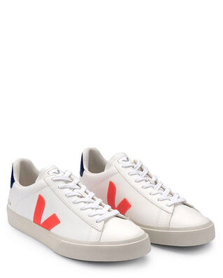 Veja Campo Chromefree Leather Extra-White/Orange-Fluo/Cobalt