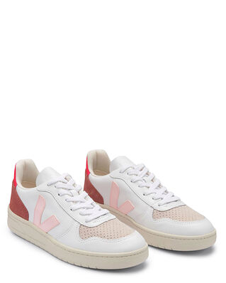 Veja V-10 Leather  Extra-White/Petale/Rose-Fluo