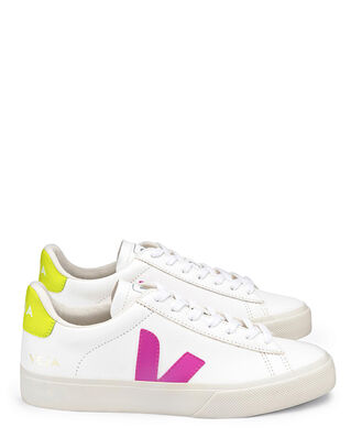 Veja Campo Chromefree Leather Extra-White/Ultraviolet/Jaune-Fluo