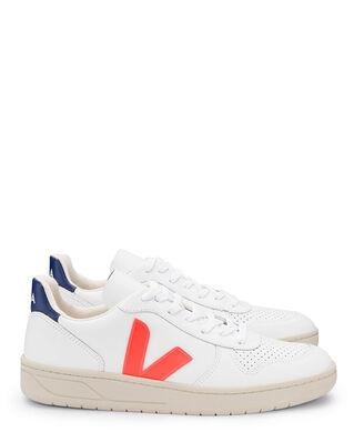 Veja V-10 Leather Extra White/Orange/Fluo/Cobalt