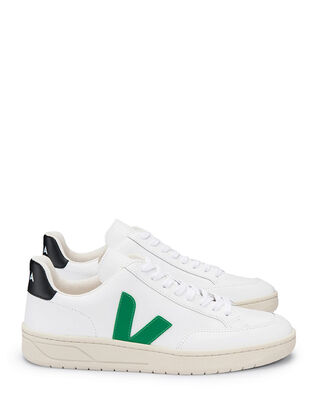 Veja V-12 Leather Extra White/Emeraude/Black