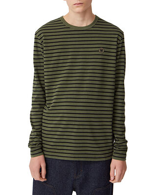 Wood Wood Mel Long Sleeve Army/Black Stripes