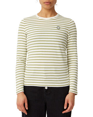Wood Wood Moa Long Sleeve Off-White/Olive Stripes