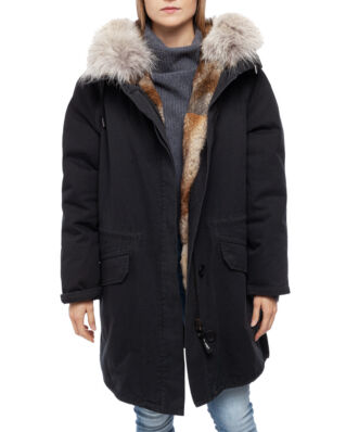 Yves Salomon Parka Coton/Four Lapin/Coyote Ppx Washed Black/Naturel