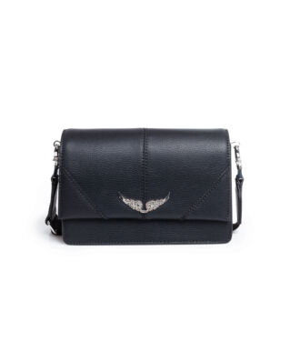 Zadig & Voltaire Lolita Grained Leather Noir Argent