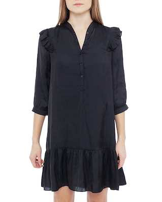 Zadig & Voltaire Rygg Satin Long Sleeves Dress Black